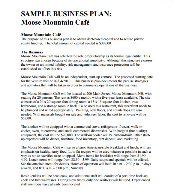 Free samples business plan outline