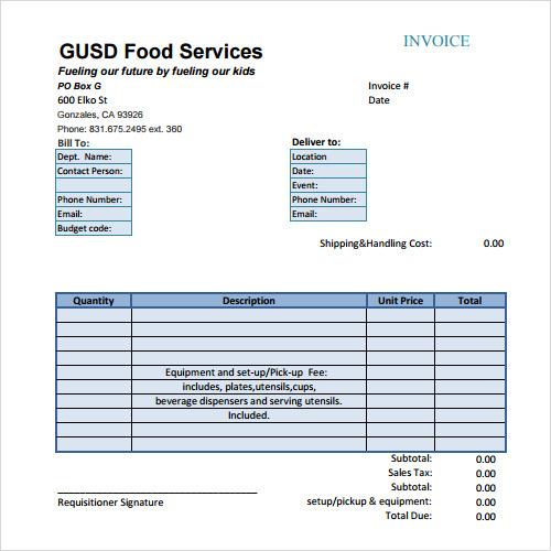 Sample Of Invoices Template Pasoevolistco - Catering invoice template word