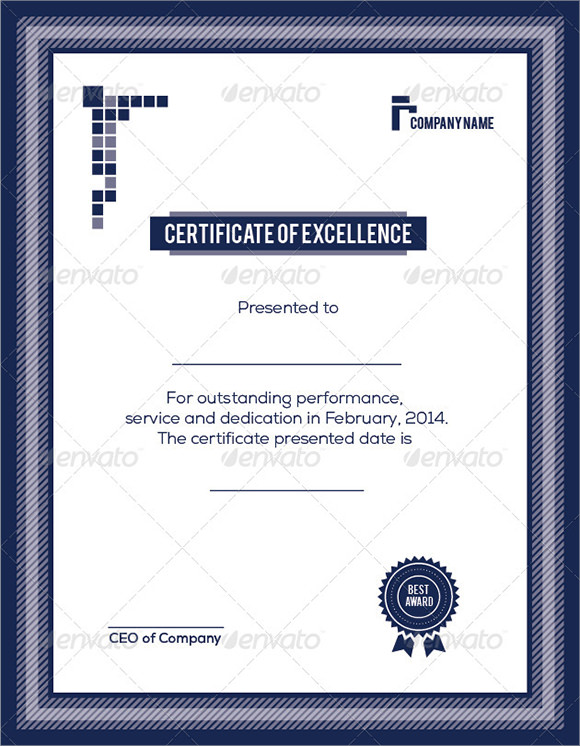 Certificate Of Excellence Template - Sample, Example, Format