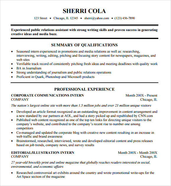 sample college resume template - Sample College Resumes