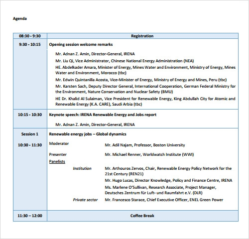 sample conference agenda templates
