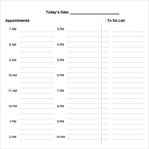 sample daily agenda template