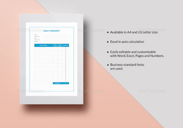 sample daily timesheet template