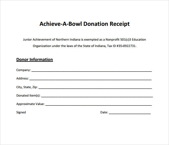9 Donation Receipt Templates Free Samples Examples Format – Receipt Example Template