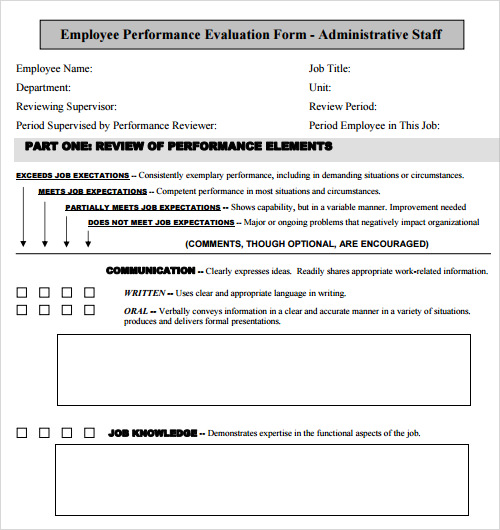 sample employee performance evaluation template