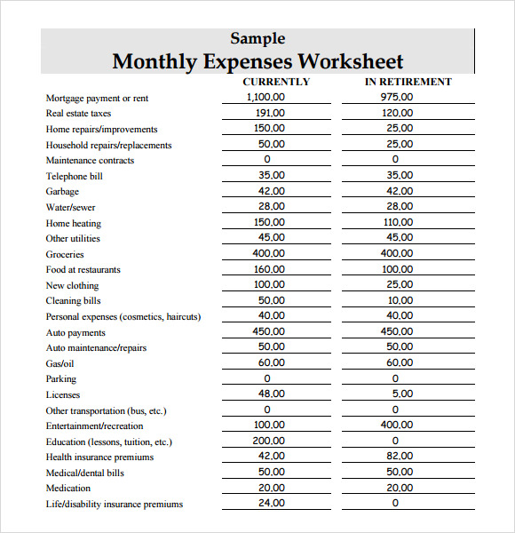 free 9  sample expense sheets in pdf