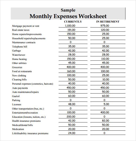 Worksheets Expense Worksheet sample expense sheet 8 documents in pdf word worksheet template