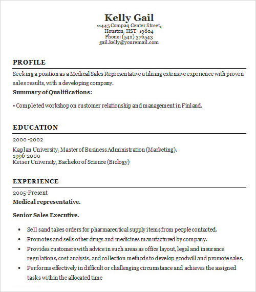 Sample Resume Template   Free Samples  Examples  Format