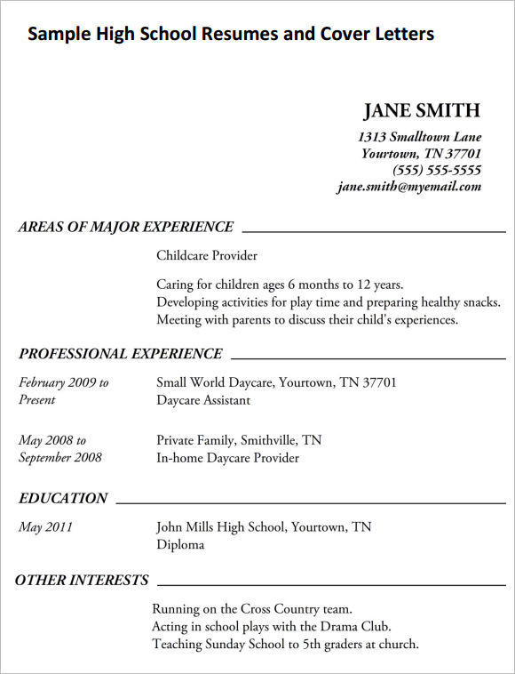 High School Resume 9 Free Samples Examples Format – Sample High School Resume