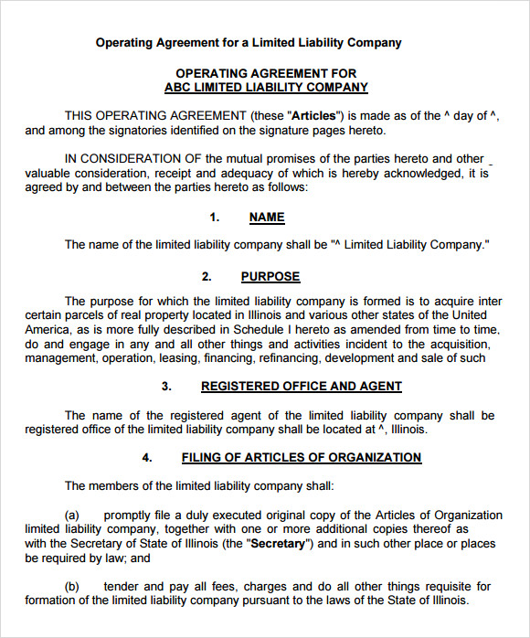 Llc Operating Agreement   Download Free Documents In Pdf  Word