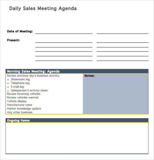 Sample Agenda Templates  Free Samples  Examples  Format