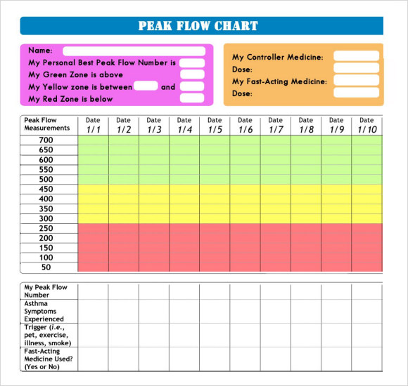 Peak Flow Chart   Documents In Pdf Word