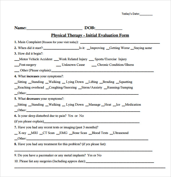 Physical Therapy Evaluation Form | Teresiajulies