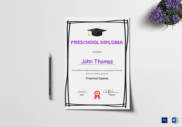 sample preschool diploma certificate template