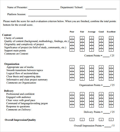 14 evaluation samples sample templates for Presenter evaluation form template
