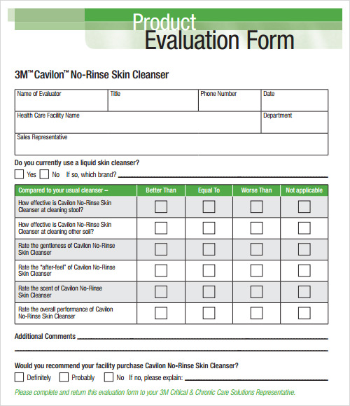 Sample Evaluation 13 Documents in PDF Word – Product Evaluation Template