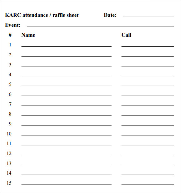 Raffle Sheet Template Images - Reverse Search