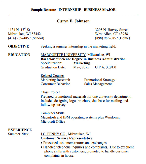 sample resume –internship– business major