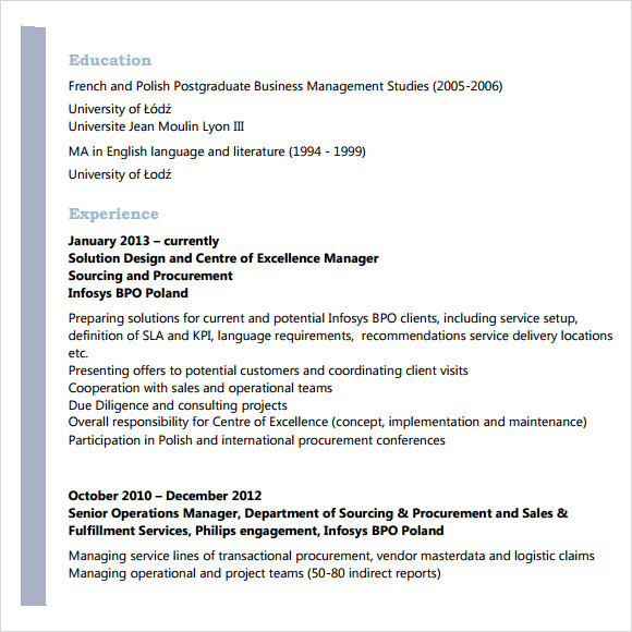 sample resume for bpo experienced. call center supervisor resume ...