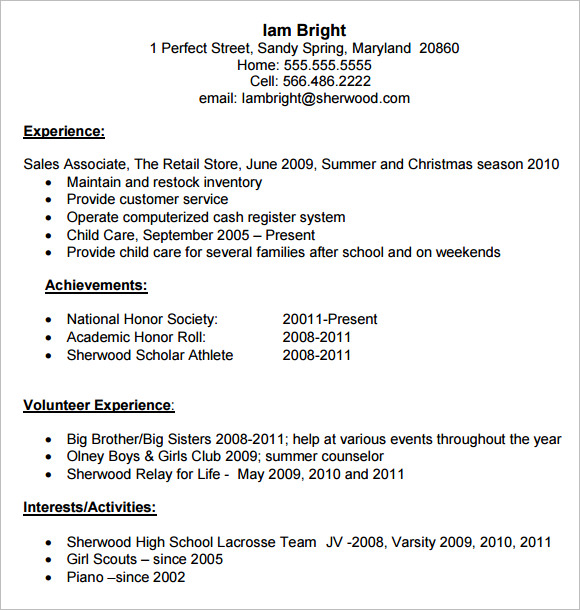 High School Resume 9 Free Samples Examples Format