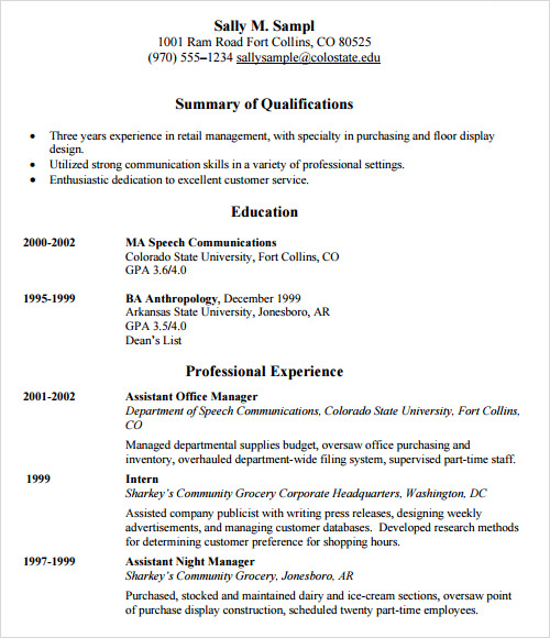 sample retail resume template