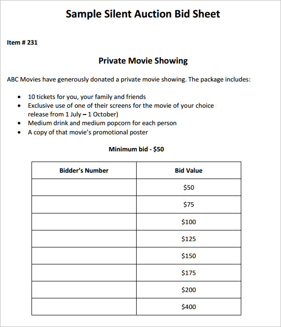 Sample Silent Auction Bid Sheet 6 Example Format – Sample Silent Auction Bid Sheet