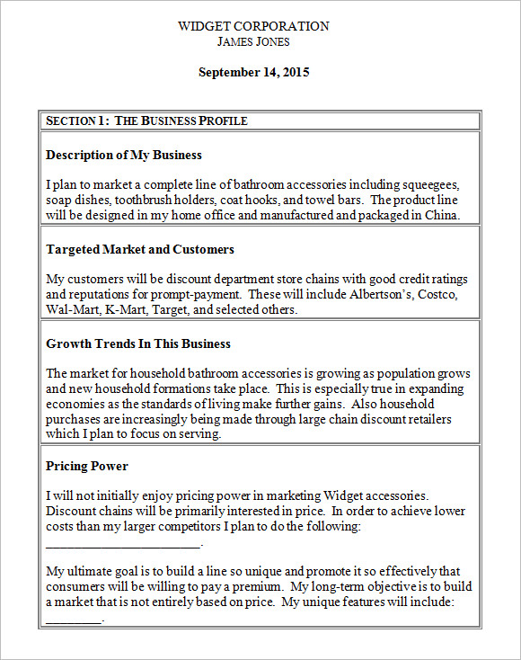 Sample Small Business Plan Sample Small Business Plan Documents