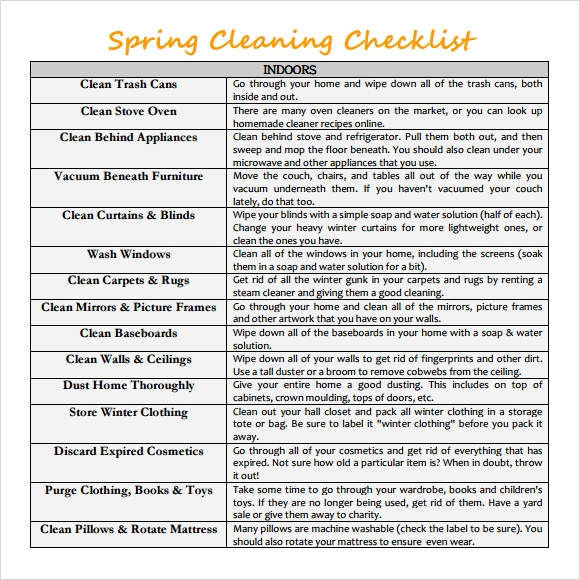 Sample Spring Cleaning Checklist   Example Format