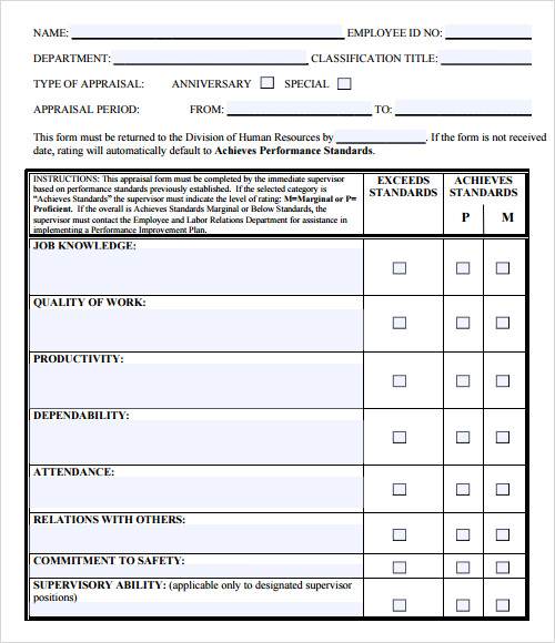 Staff Evaluation Support Staff Employee Evaluation Form Employee