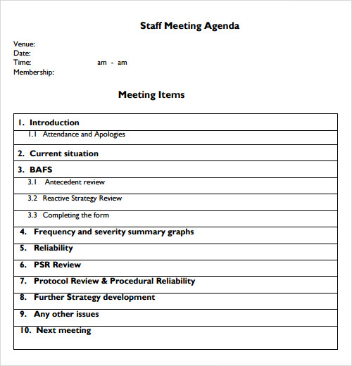 sample staff meeting agenda template