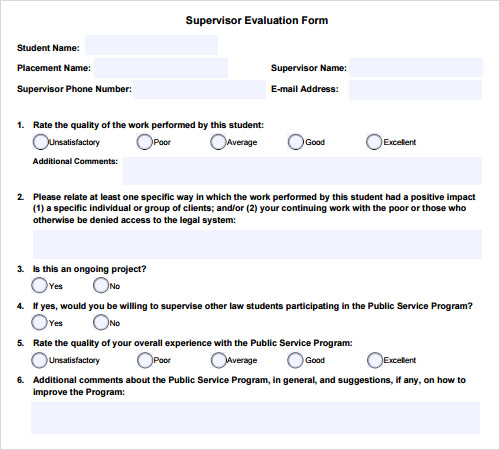 sample evaluation templates