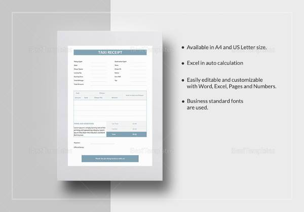 sample taxi receipt template in word