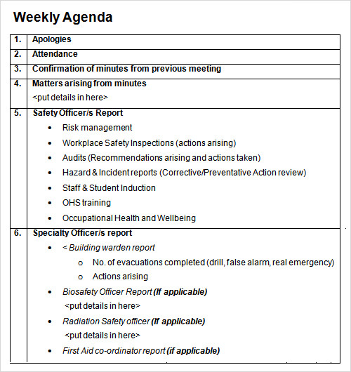 sample weekly agenda template
