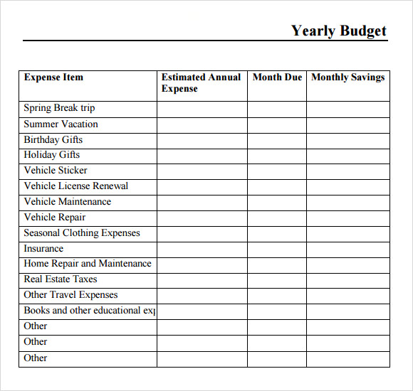 Sample Yearly Budget   Documents In Pdf Word