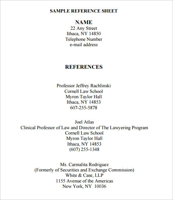 Job Reference Sheet Template