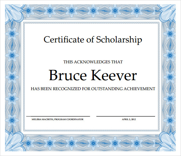 Sample Scholarship Certificate Template - 9+ Documents in PSD, PDF ...