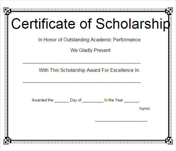 Sample Scholarship Certificate Template   Documents In Psd Pdf