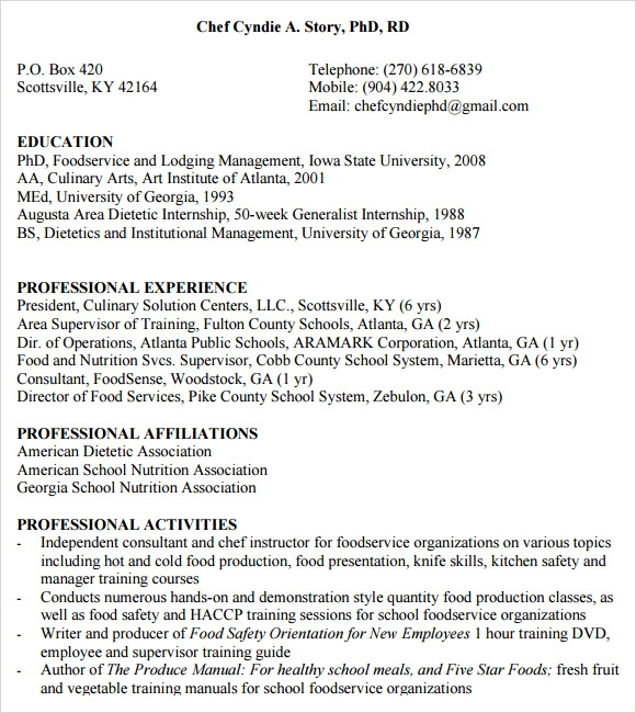 secretary resume chef - Chef Resume Example