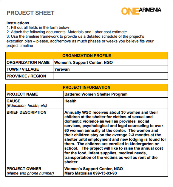 Sample Project Sheet   Examples Format