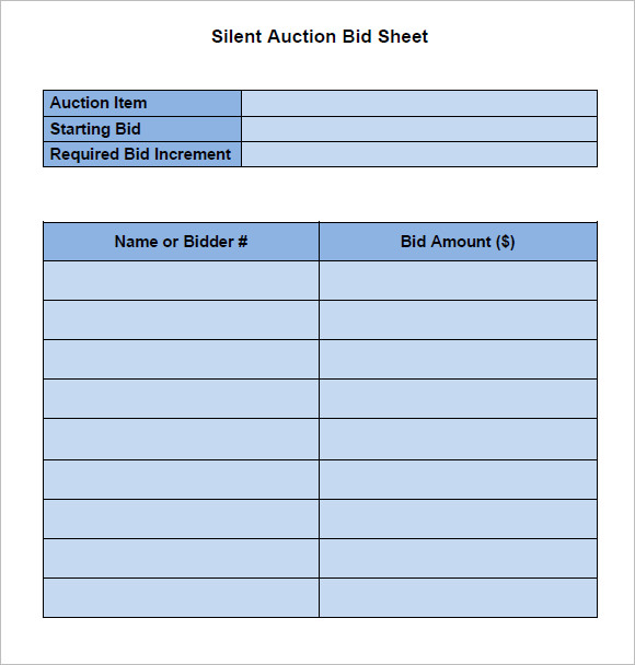 Pin Free Silent Auction Bid Sheet Template on Pinterest