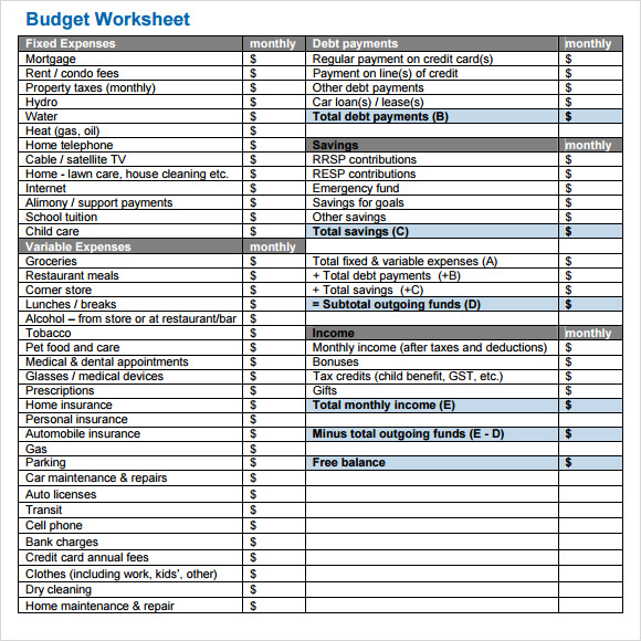 Simple Budget Template   9  Free Samples Examples Format Sample 84xwL9oS