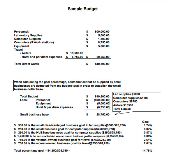 Sample Budget   Documents In Pdf Word