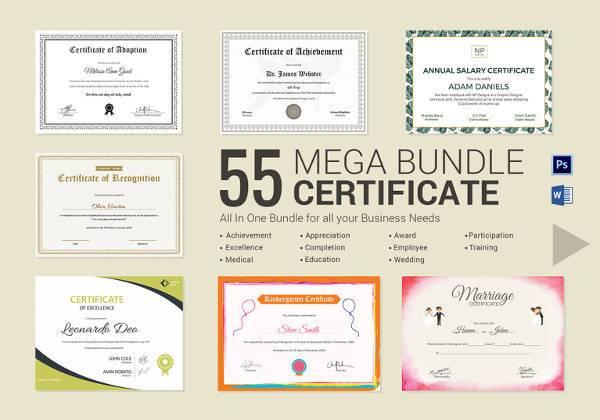 simple certificate bundle set in psd word format