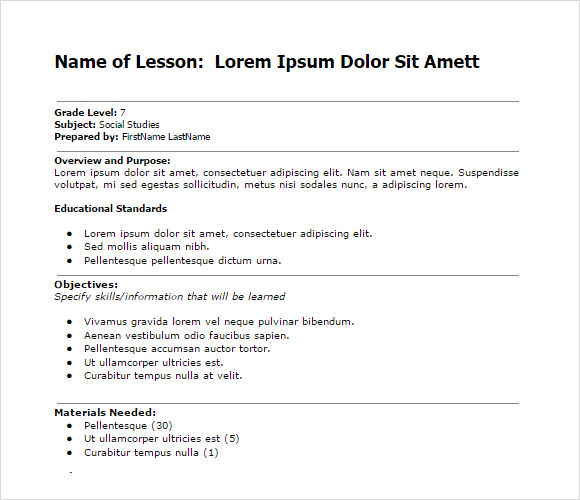 simple lesson plan word1