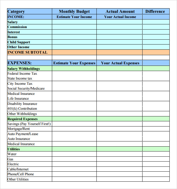 Sample Budget 7 Documents In PDF Word – Simple Monthly Budget Worksheet