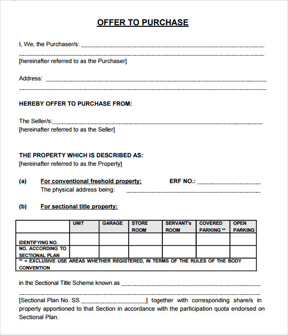 Fer To Purchase Real Estate Form 10 Download Free