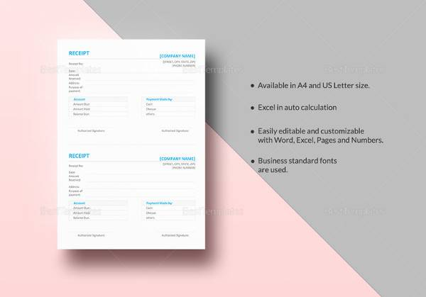 simple receipt template to edit