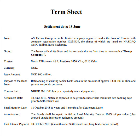 investor term sheet template - 7 sample term sheets sample templates