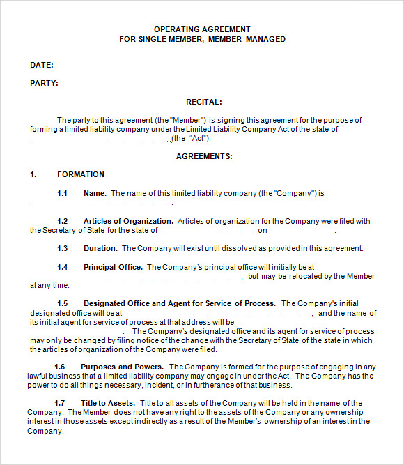 Single Member LLC Operating Agreement Template Free  Agreement Templates