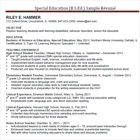 special education teacher resume template experienced elementary school sample examples objective